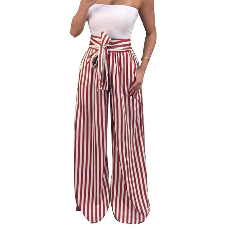 32ef31aadc Compre Zadorin 2018 Verano Nuevo Pajarita Pantalones Anchos De La Pierna De  Las Mujeres De Cintura Alta Pantalones De Rayas Largas Sueltas Pantalones  Boho ...