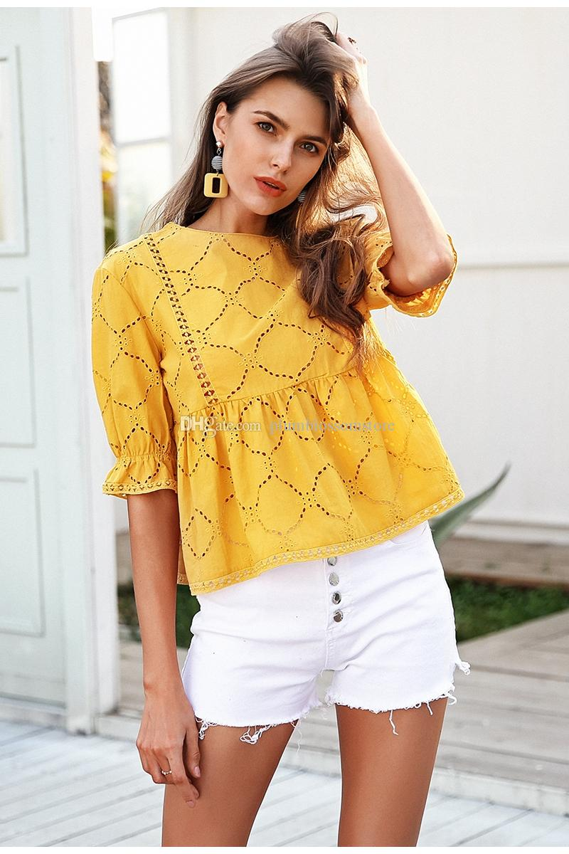 121db75c06 Cotton embroidery summer blouses women O neck hollow out crochet shirts  sexy blusas peplum Ruffle half sleeve casual fashion tops 2018