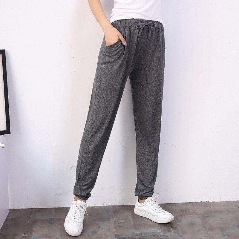 f52c5e44e78d Women Summer Trousers Elastic Low Waist Casual Harem Cotton Pants Women  Fashion Solid Full-length Pants Pants & Capris Cheap Pants & Capris Women  Summer ...