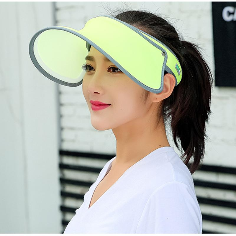4c4e8a993f212a 2018 New PVC Plastic Sun Visor Hats Women's Large Brim Candy Solid  Windproof Caps Cycling UV Protection Sunscreen Hat