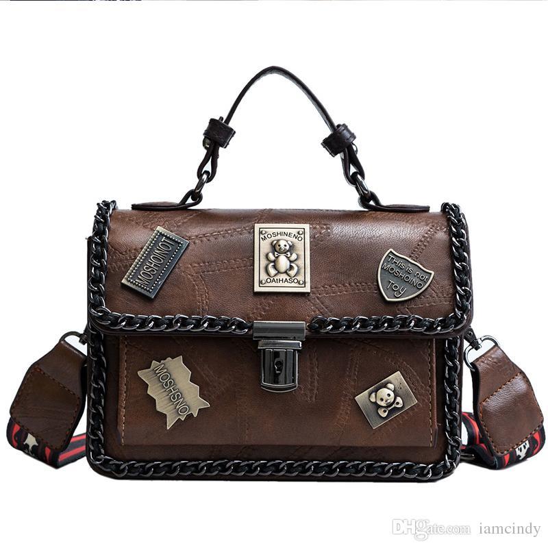 4023cc42903a0 Handbag Women With Teddy Bear Badge Handbags Wide Strap Vintage Designer  Handbags Black Shoulder Bags Leather White Handbags Wholesale Bags From  Iamcindy