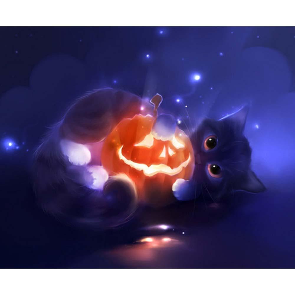 Zucca Halloween Gatto.Tema Di Halloween Zucca Gatto Nero Handmade Pittura Diamante 25 30 Cm Wall Art Immagini Per La Casa Festa Decor Regalo Y30
