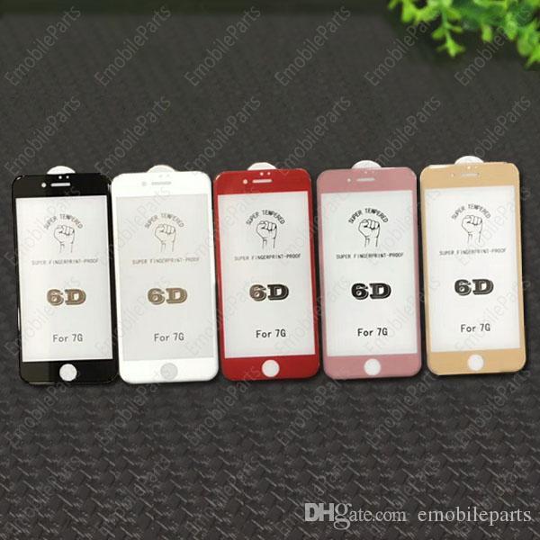 100 stücke 3d 4d 5d 6d gekrümmte displayschutzfolie 9 h gehärtetem glas kohlefaser displayschutzfolie für iphone x 6 6s 7 8 plus