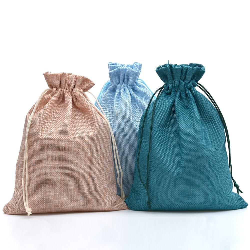 2019 17x23cm Jute Drawstring Bags Wedding Favor Jewelry Packaging