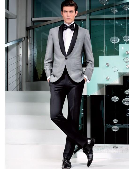 480f8470cda6 Black Shawl Lapel Grey Casual Tuxedos Best Men Suits Wedding Vintage ...