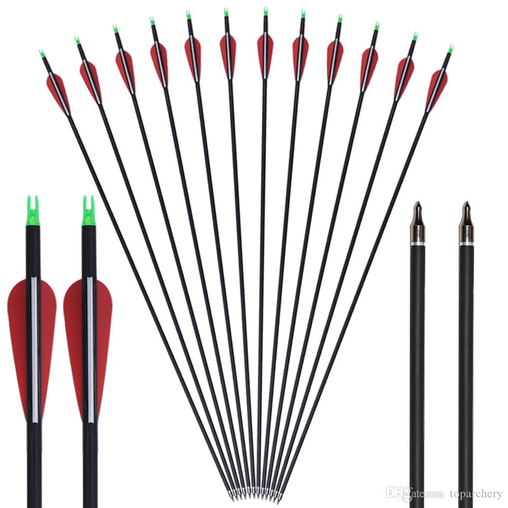 Plastic Vanes Carbon 31-Inch Arrows with Field Points Replaceable Tips for Recurve Bow and Compound Bow
