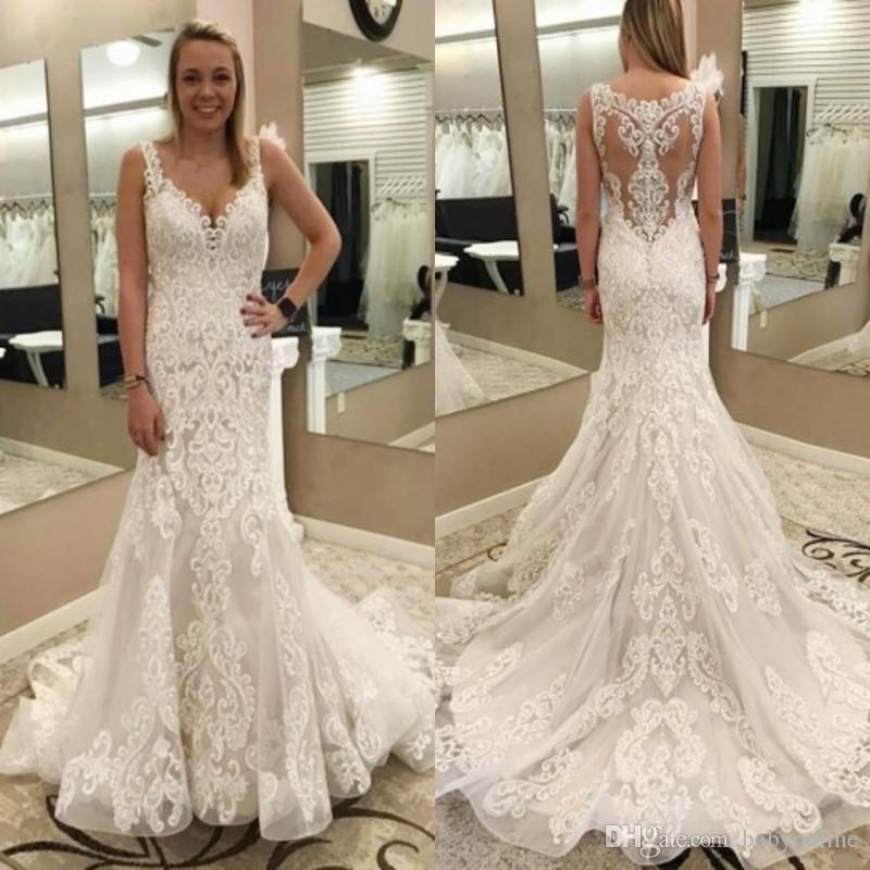 674a76ab498 Lace Mermaid Wedding Dresses Spaghetti Straps V Neck Illusion Backless  Appliqued Bridal Gowns Floor Length 2018 High Quality Mermaid Beaded Wedding  Dress ...
