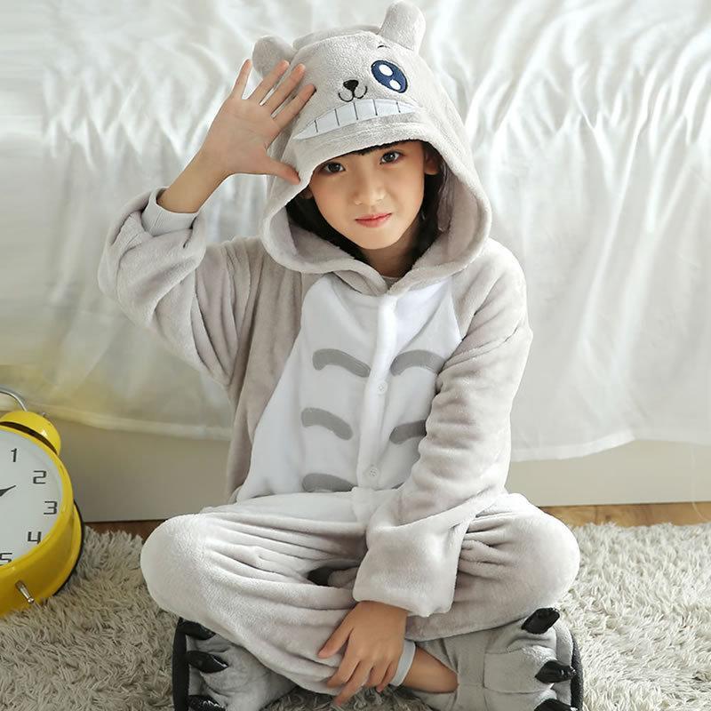 99750c3de Totoro Children  S Autumn  Winter Hooded Flannel Pajamas Cartoon ...