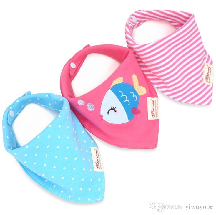 set baby bandana bibs cotton double layers infant feeding bibs burp cloths cartoon design mix Triangular bibs for newborn boy and girl