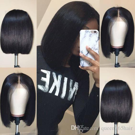 Dentelle Avant Perruques De Cheveux Humains Pré Plucked Droite Complète Fin Brésilienne Remy Cheveux Court Bob Perruques Blanchi Noeuds Partie Centrale