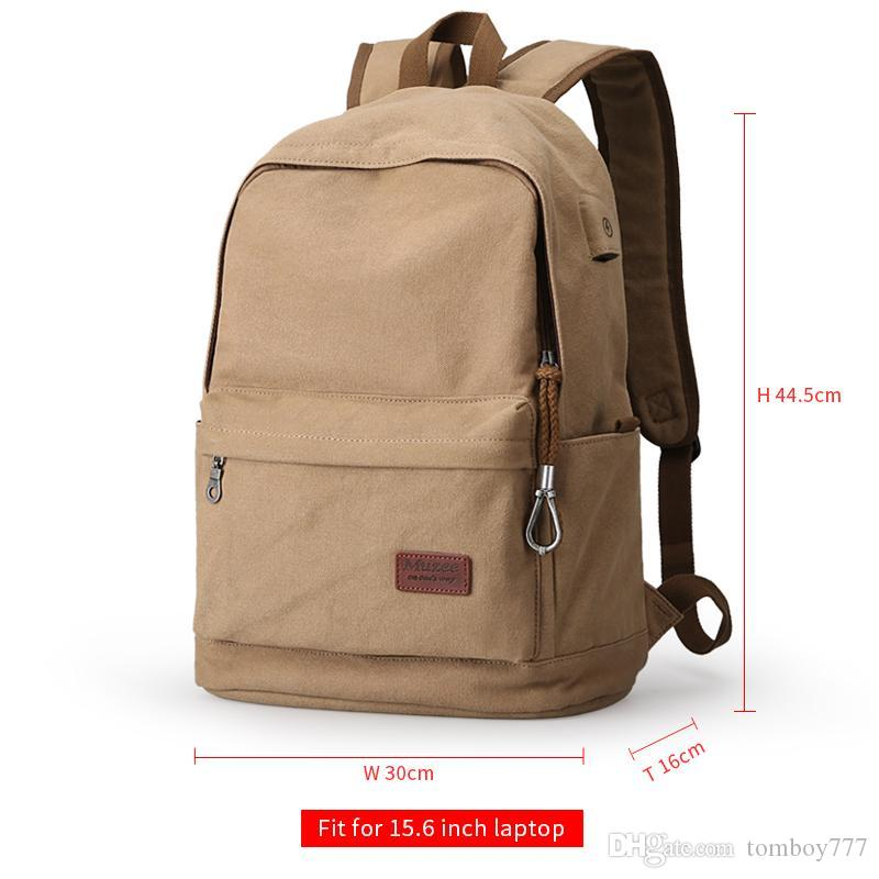 a74371b83fd0 2018 Men Male Canvas Backpack College Student School Backpack Bags For  Teenagers Vintage Mochila Casual Rucksack Travel Daypack Rolling Backpacks  Backpacks ...