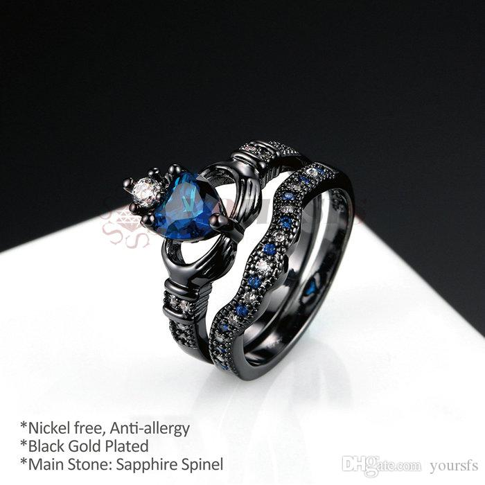Yoursfs Women Celtic Claddagh Rings Black Heart Traditional Friendship Ring Sizes 6-10