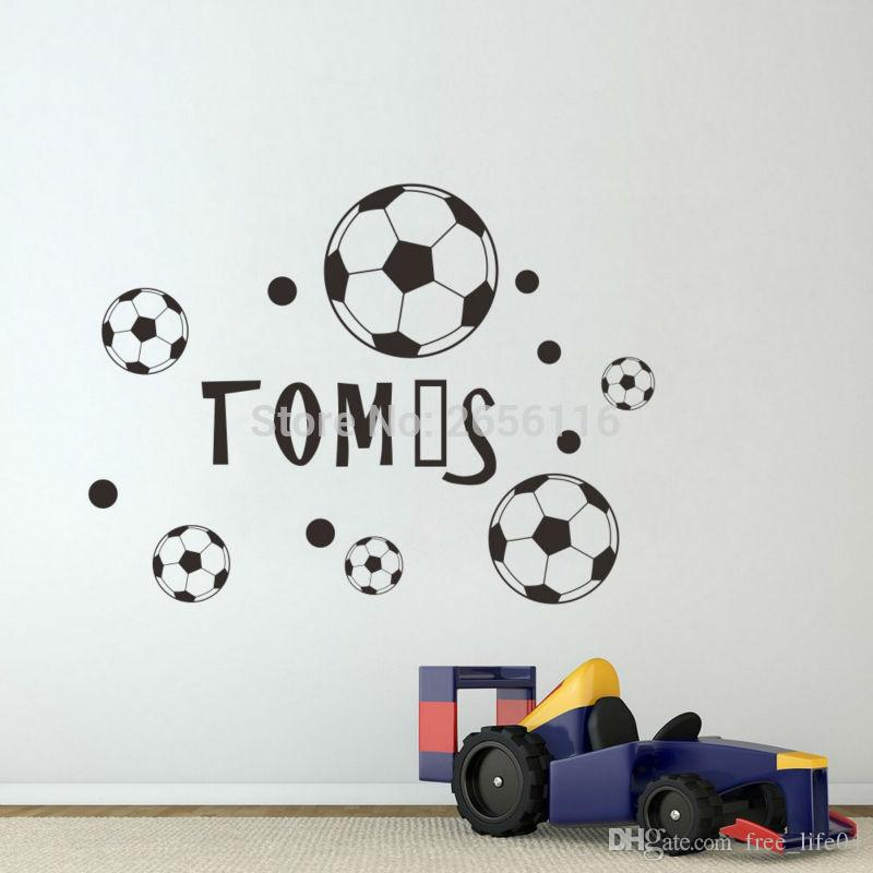 custom made name wall sticker football soccer wall decal for boys