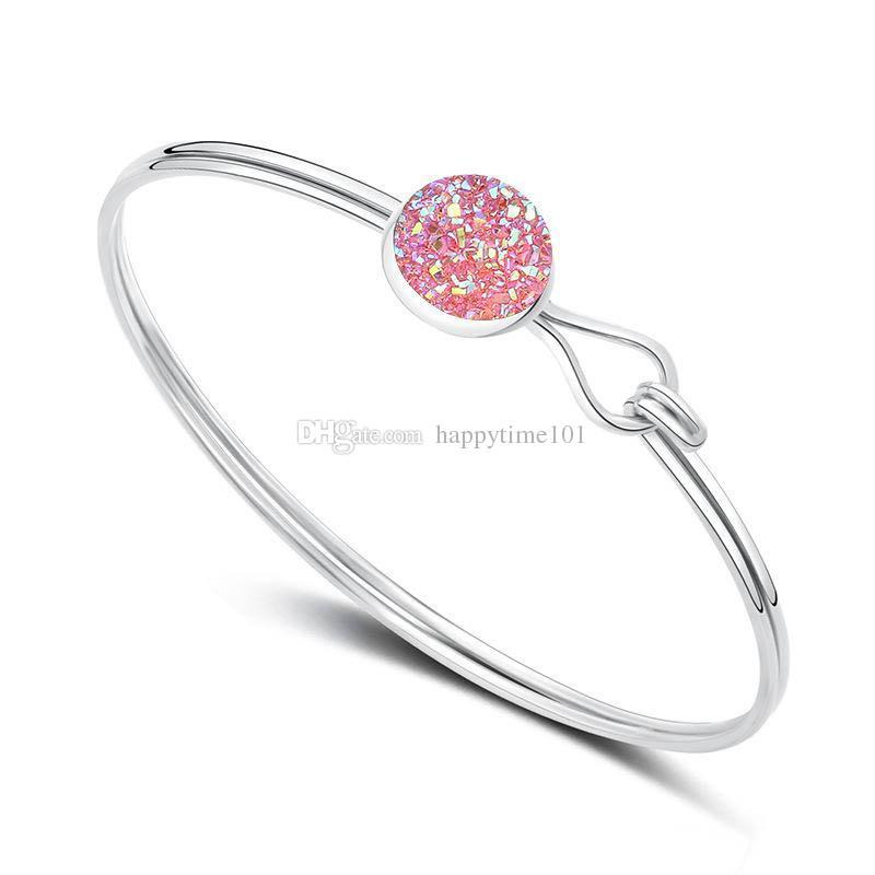 Fashion Round Drusy Druzy Bracelet Bangle Silver Gold Plated Faux Gemstone Bracelet Women Lady Jewelry