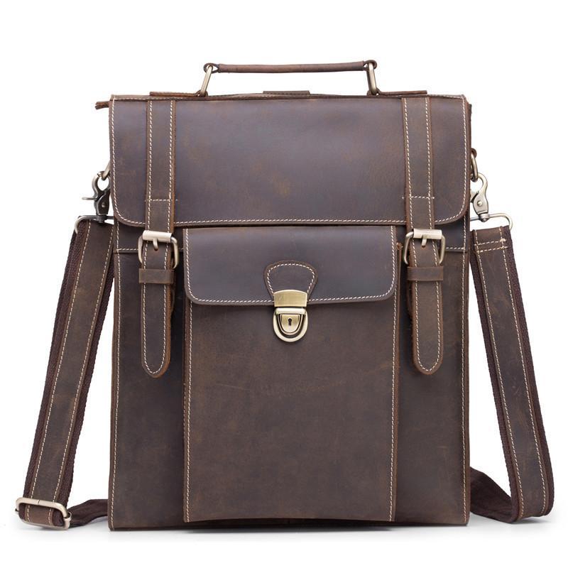 f8d376013f0c Promotional Classic Men'S Crazy Horse Leather Backpack Vintage Dark Brown  College Wind Student Backpack Boy Handbag Briefcase Backpacks For School  Laptop ...