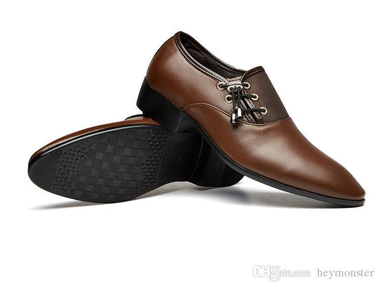 d3202a4d13 Compre Hombre Zapatos Casuales Negro Marrón Hombre Zapatos De Vestir  Primavera Otoño Hombres Zapatos Sociales Parte Inferior De Goma Cómodo  Negocio Calzado ...