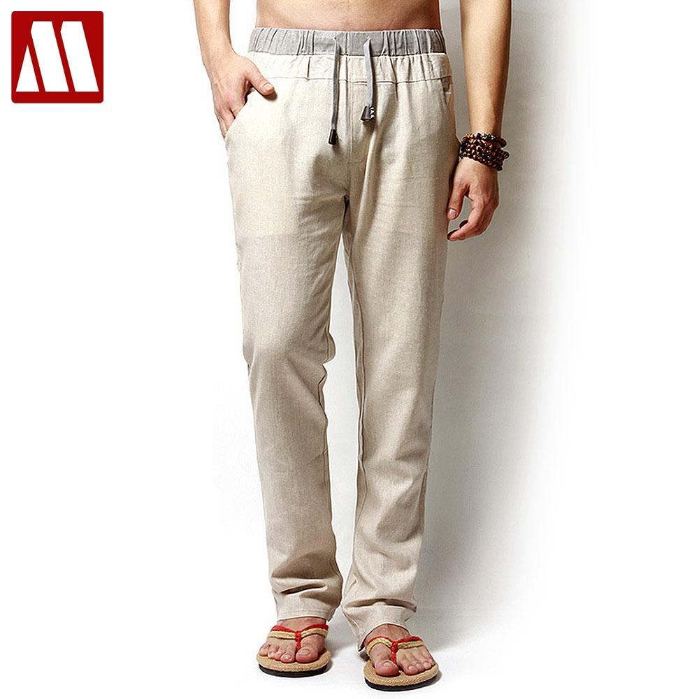 3f6e23c525 2019 Linen Pants Mens Loose Pants Man Summer Style Elastic Waist Linen Long  Trousers Plus Size XXL XXXL XXXXL Color Beige Army Green From Chivalife, ...