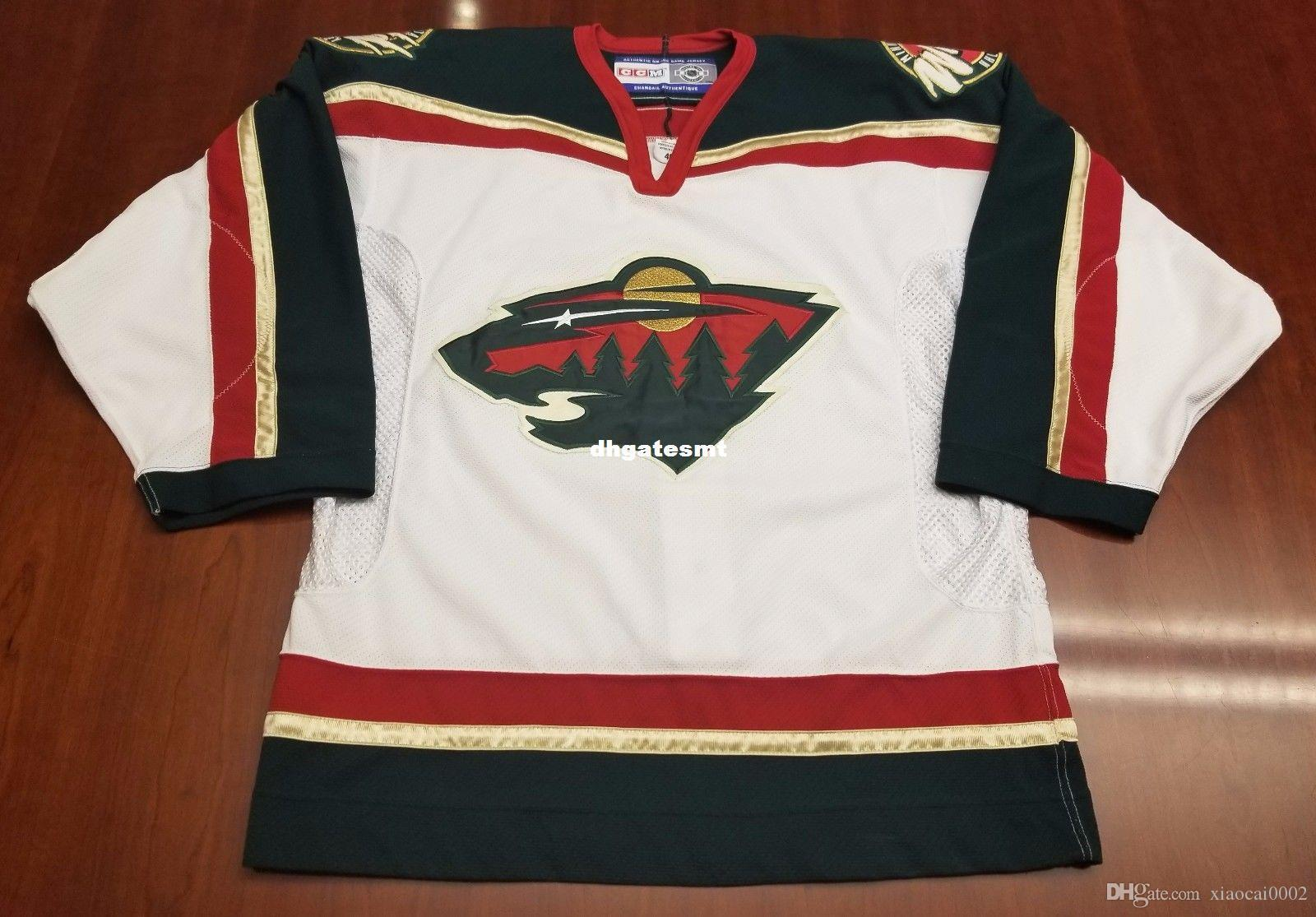 pretty nice 00891 8d6e4 Custom Minnesota Wild Vintage CCM Cheap Center Ice Authentic Pro Hockey  Jersey White Mens Retro Jerseys