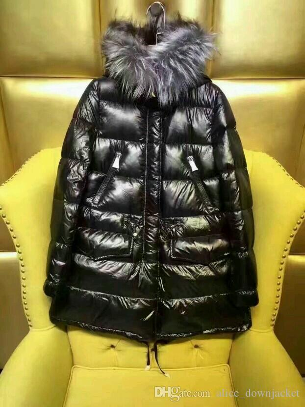 New Outdoor new brand women down jacket black women's winter coats 90%white duck down waterproof windproof fox fur hooded casual long parkas