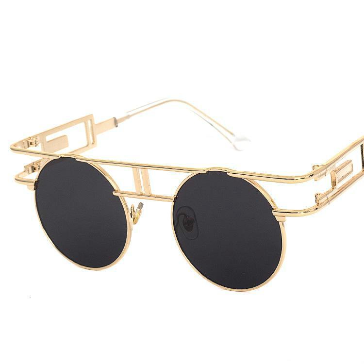 ff0c3c6793ef28 Compre 2018 Nova Moda Steampunk Óculos Homens Mulheres Redondos Óculos De  Sol Do Vintage Hippie Steampunk Gótico Óculos Retro Eyewear Uv400 Proteção  De ...