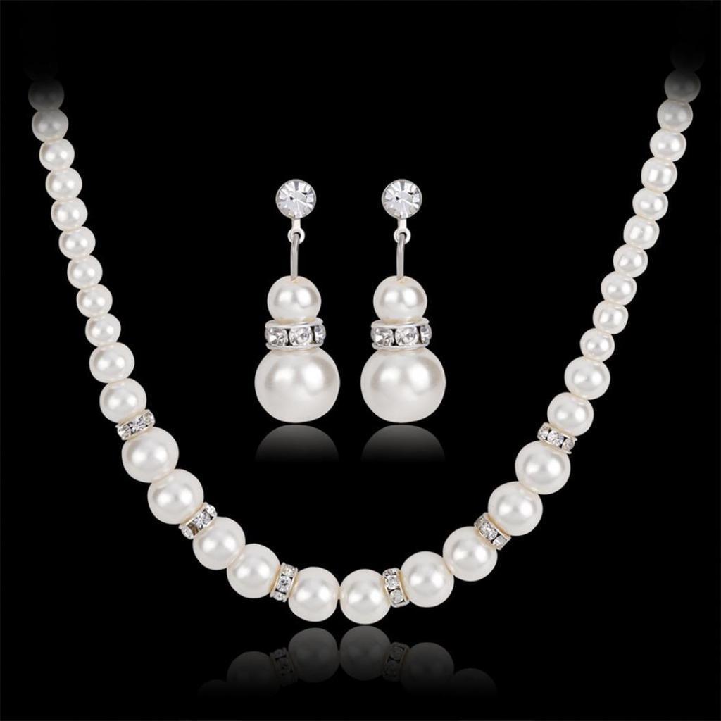 f4872b341953 Mujeres moda elegante Rhinestone Faux perlas perlas pendientes collar  conjunto de joyas