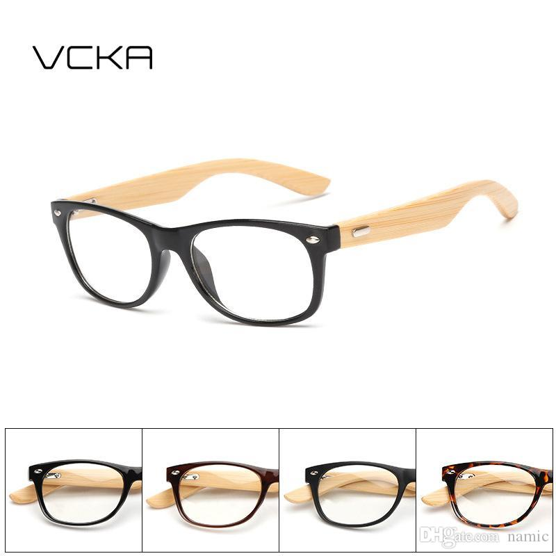 93ca17e717 VCKA Bamboo Leg Eyeglasses Frame Handmade Vintage Rivets Retro Wooden  Glasses Frame Classic Myopia Optical Clear Lens Reading Glasses  Prescription ...