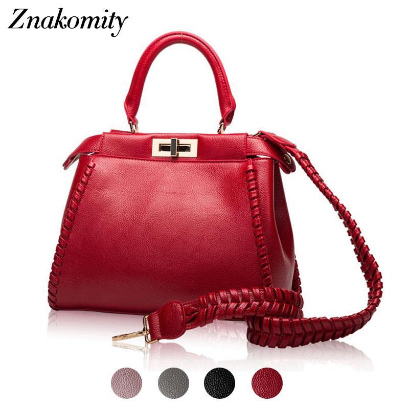 4fdf049302497 Znakomity Women Genuine Leather Handbags Women S Wine Red Tote Bag Female  Fashion Ladies Hand Bags For Woman Shoulder Bag Autumn Handbag Brands  Reusable ...