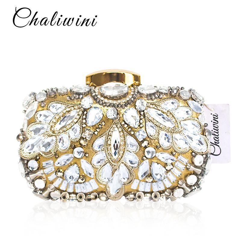Braut-accessoires Verantwortlich Clutch Tasche Handtasche Abendtasche Edle Strass Damentasche Hochzeit Schwarz Elegante Form
