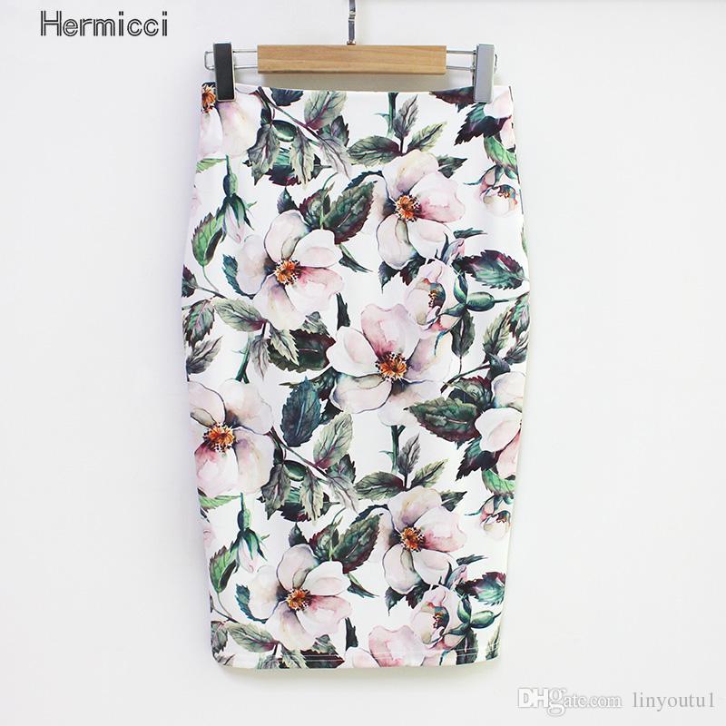 20e5a7f8cf35 2019 Hermicci 2018 Summer Style Pencil Skirt Women High Waist Green Skirts  Vintage Elegant Bodycon Floral Print Midi Skirt From Linyoutu1, $13.05    DHgate.