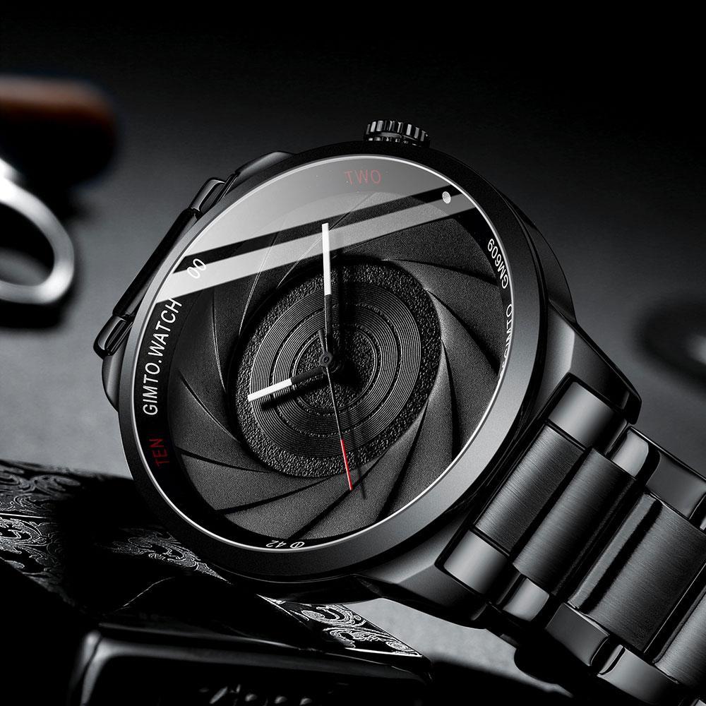 4789dd4ce33 Compre GIMTO Moda Masculina Relógios Ripple Padrão Preto De Aço Inoxidável  Japão Movimento De Quartzo Relógio À Prova D  Água Para Homens Relógio  Ocasional ...