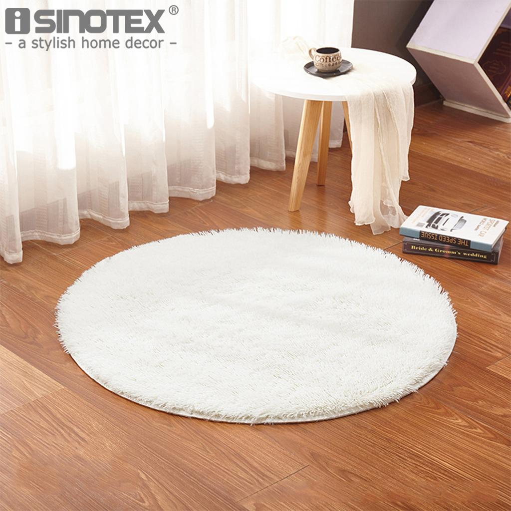 Shaggy Fluffy Rugs Anti Skid Bedroom Dining Area Rug Round