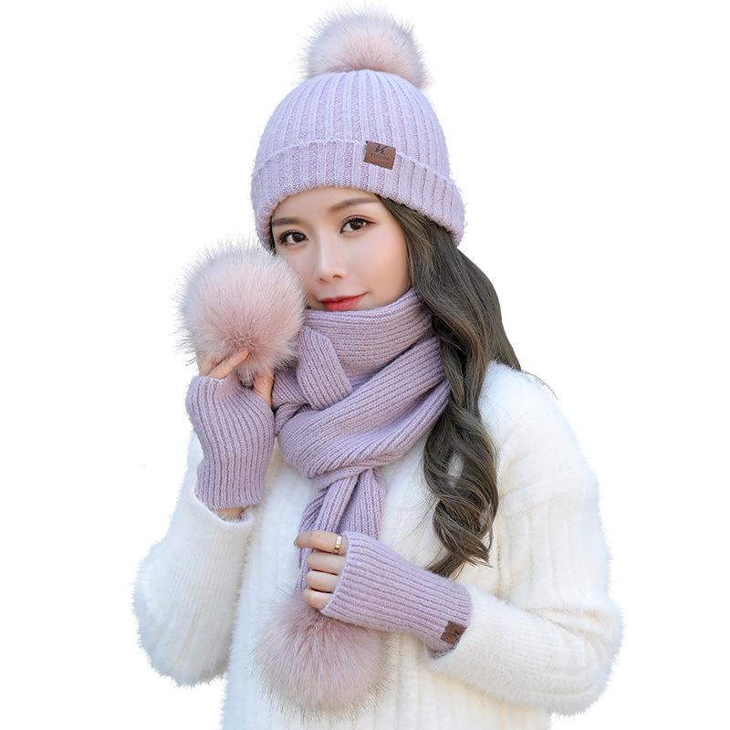 1bac3743819 2019 Quality Women Hat Glove Scarf Set Ladies Winter Thick Wool Caps And  Ball Scarf From Duoyun