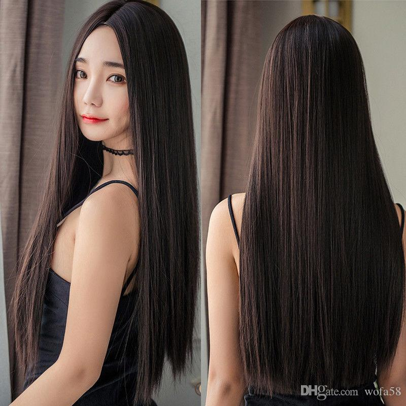 Women Long Straight Full Wig Hair Part Bangs Synthetic Cosplay Party Wig Cap  For Making Wigs Wig Caps For Making Wigs From Wofa58 6b97cafa5f