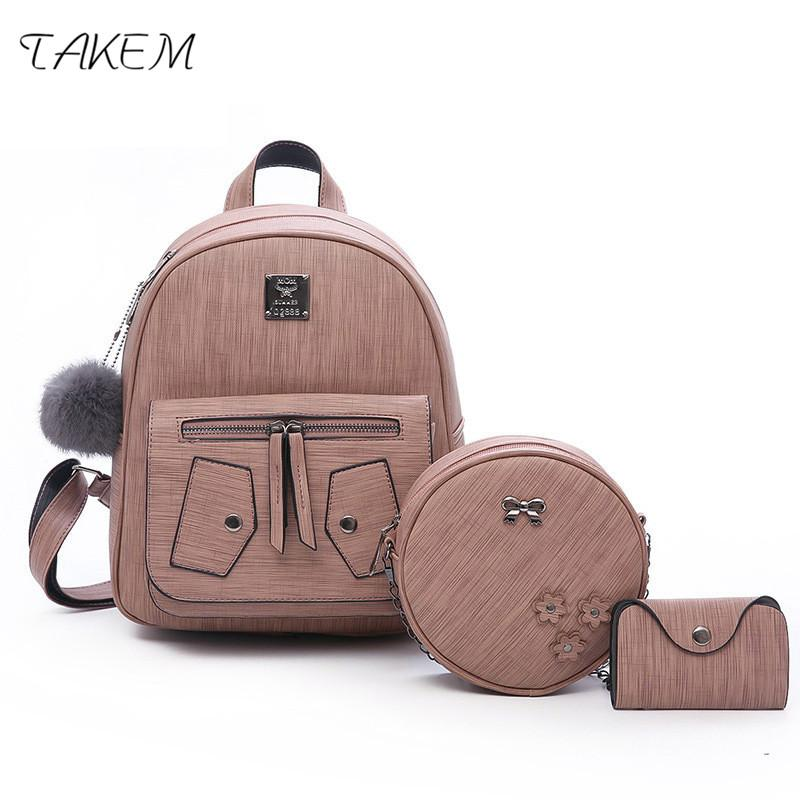 df4ee5daf5fe 2018 Women Backpack Set PU Leather Lady Laptop Backpacks Card Package  Hairball Decorative Fashion College Style Black Leather Backpack Backpacks  For School ...