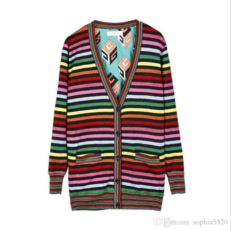 2018 women new fashion same star's with a gold glitter color stripe loose V neck knitted cardigan sweater female long striped pocket sweater