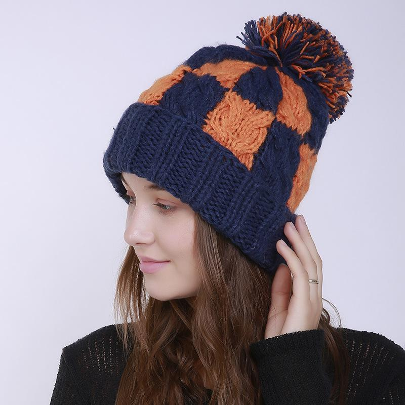 6a185145550 Handmade Knitted 2018 New Plaid Skullies Hat For Women Autumn Winter ...