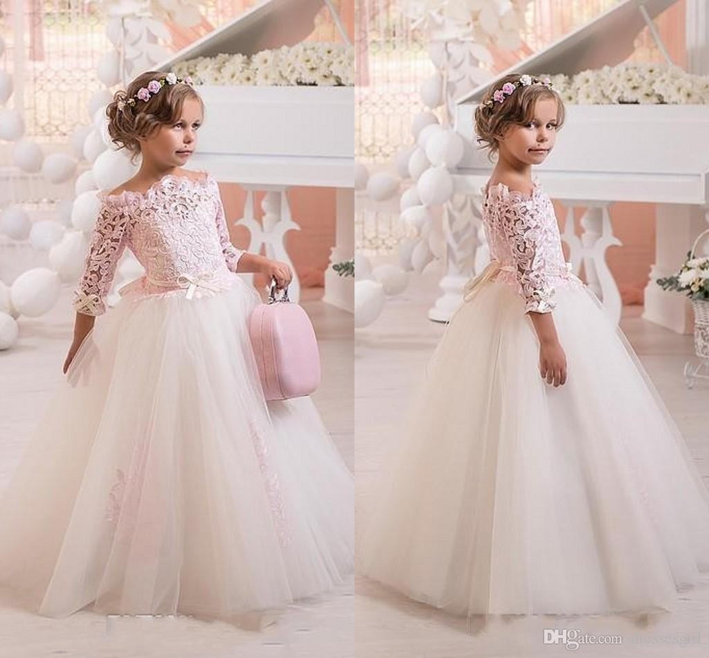 7a9032b28b0 New Off Shoulder A Line Flower Girl Dress Lace Tulle Floor Length Tutu  Lovely Girls Pageant Gown Party Gowns Ivory Flower Girls Dress Pretty Flower  Girls ...