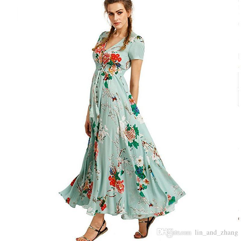 b57480a00b460 2018 New Women Fashion Maxi Dress Short Sleeve Long Summer Floral Print  Dresses Casual Ladies Sexy Party Beach Dress MLD1026