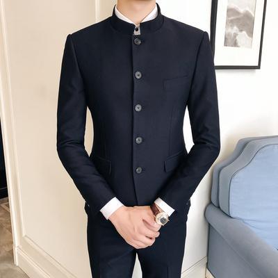 Anzug Designer | Grosshandel Manner Anzug Designer 2018 Stehkragen Slim Fit 2 Stuck