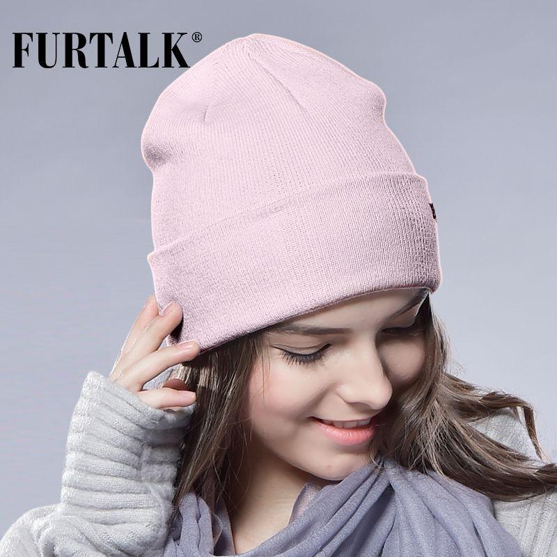 c39cf129bd9 FURTALK Winter Hats for Women Men Knitted Beanie Hat Cap for Girls Wool  Brand Hat Female