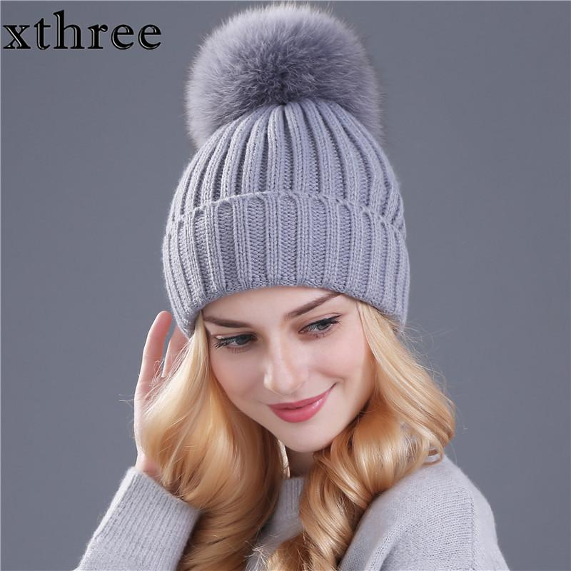 67c59480 [Xthree] real fox fur pom poms ball Keep warm winter hat for women girl 's  wool hat knitted beanies cap thick female cap S1020