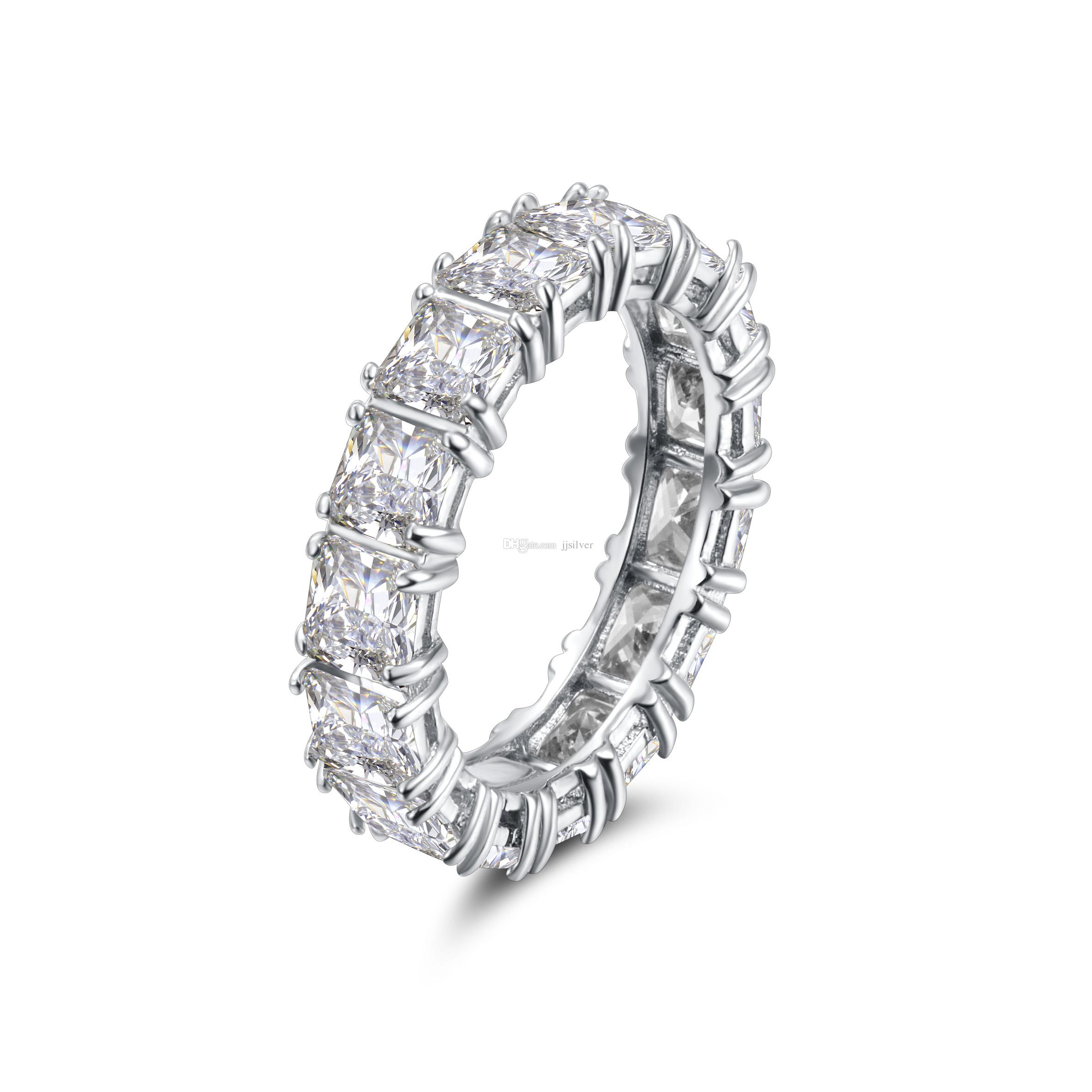 925 Sterling SILVER PAVE SETTING FULL SQUARE Diamant CZ ETERNITY BAND ENGAGEMENT WEDDING Stone Rings Size 6,7,8 Fine Jewelry