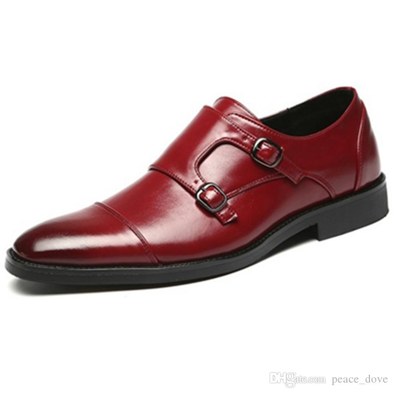 Double Monk Strap Shoes Men Formal Shoes Leather Wedding Shoes for Men 2018  Italian Brand Chaussure Classic Homme Sapatos Masculinos Ayakkab Men s Dress  ... 11ccaf228
