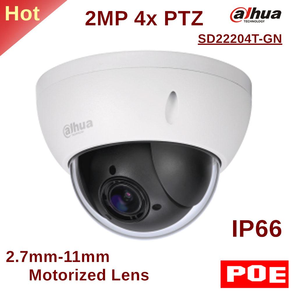 Dahua PTZ Camera SD22204T-GN 2MP 4x PTZ Network Camera 2 7mm-11mm Motorized  Lens Support PoE for Outdoor ip security cam