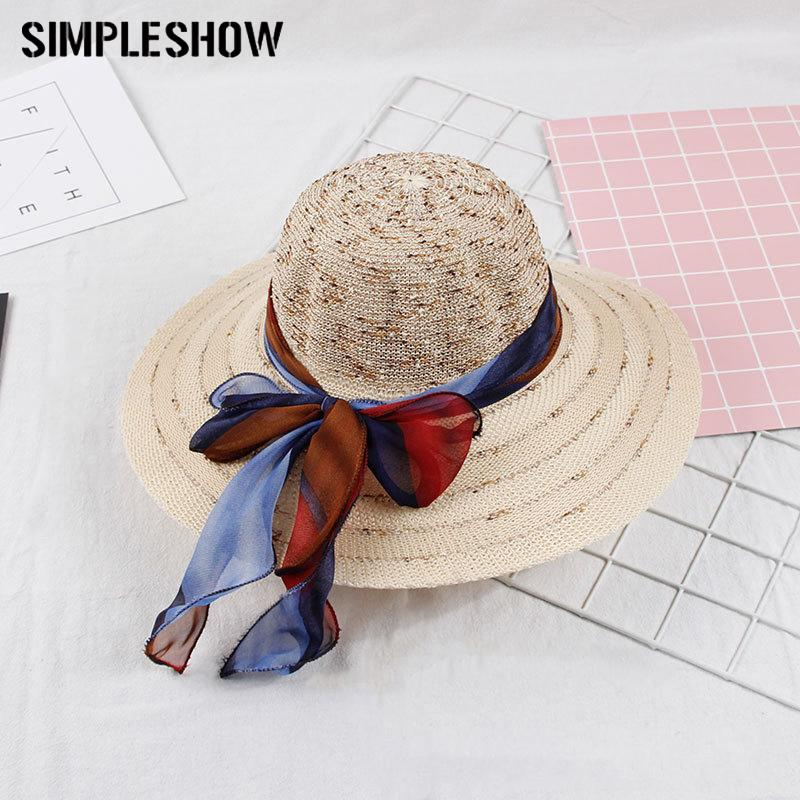 27bd3be0b01 Fashion Straw Hat For Women Sun Hats Girls Cap Anti-UV Beach Summer ...