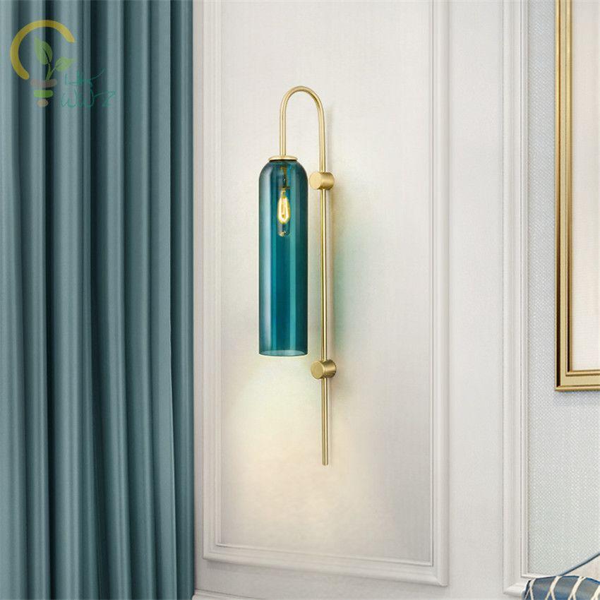 2019 Modern Minimalist Glass Wall Lamp Blue White Indoor Living