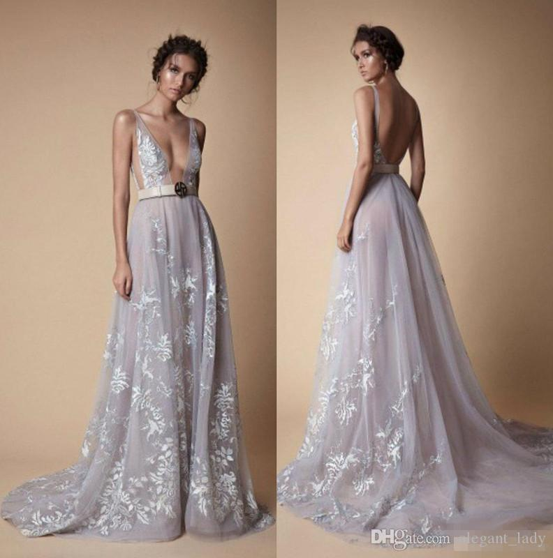 2018 Berta New Evening Dresses Plunging Neck Backless Lace Formal Prom Dress Long Sweep Train Cheap dusty blue A Line Party Gowns