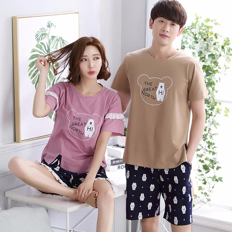New Couples Pajamas Women Cotton Pajama Sets Short Sleeve Pyjama Cute Cartoon Animal Sleepwear Men Nightwear Homewear Hot Summer