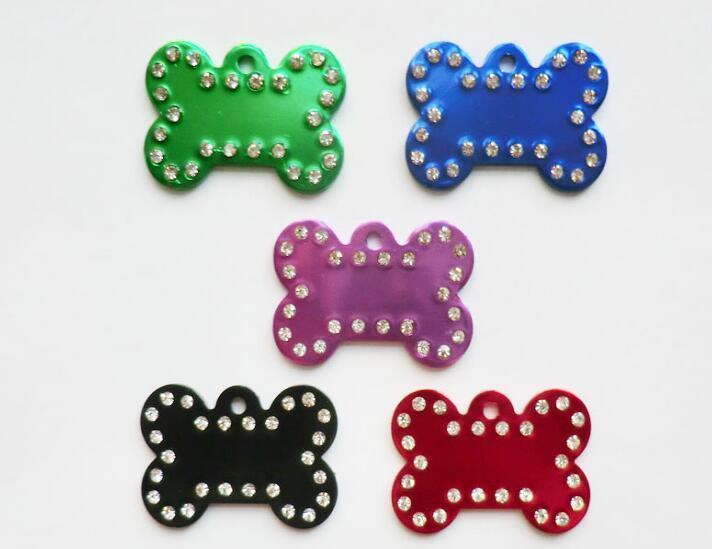 Wholesale Dog Bone Diamond Decor Pet Id Tag Custom Engraved Pet Name Phone Number Cat Dog ID Tag Charm Personalized