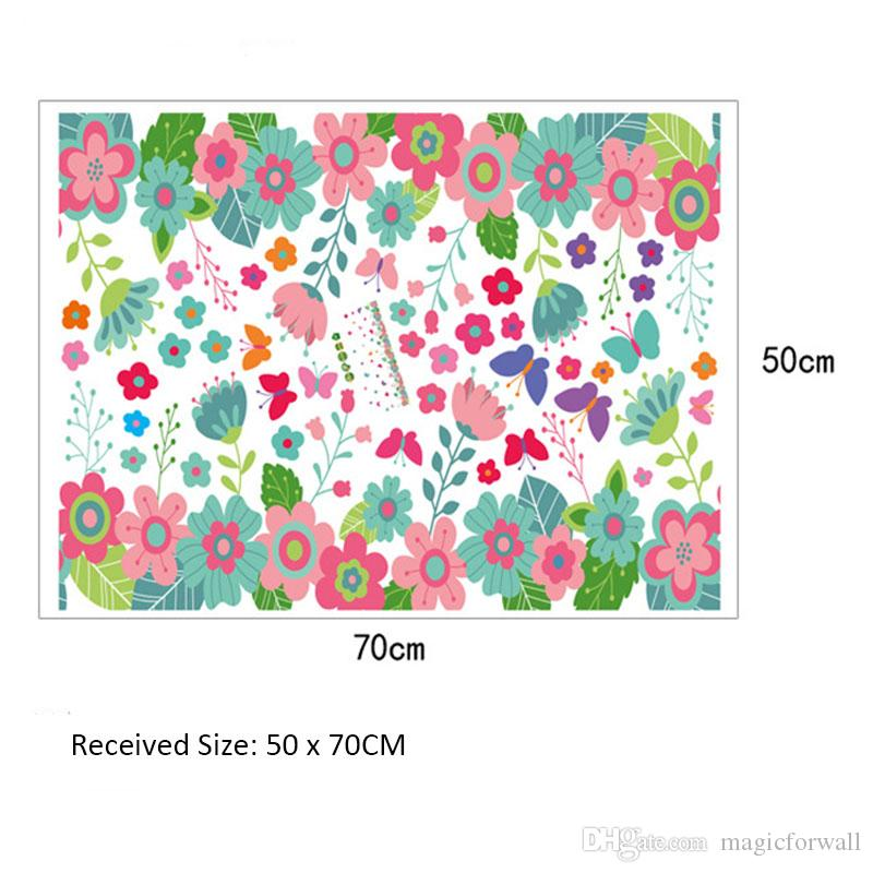 Colorful Flowers Butterfly Wall Border Decals Home Decor Wall Stickers Cabinet Window Decoration Wall Poster Mural Kids Room Wallpaper Decal